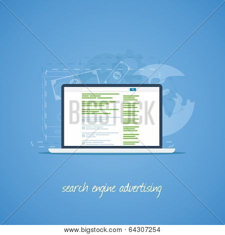 Search engine marketing and advertising vector concept