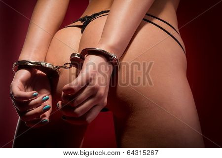 Sexy Girl From Behind In Handcuffs
