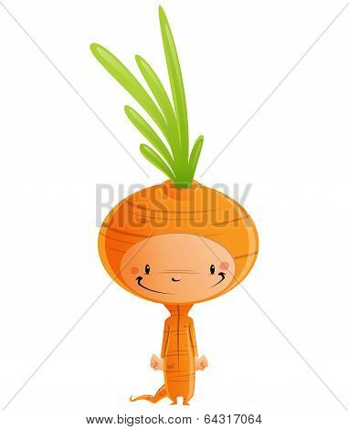 Cartoon Happy Smiling Kid Wearing Funny Carnival Carrot Costume