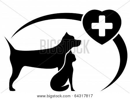 black Veterinary Symbol With Dog And Cat