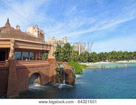 Beautiful views of the Atlantis  Hotel in Nassau, Bahamas poster