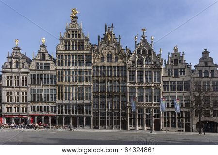 Facades On Antwerp Grand Place.