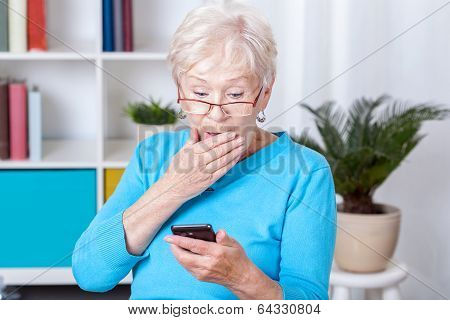 Elderly Woman Surprised By Text Message