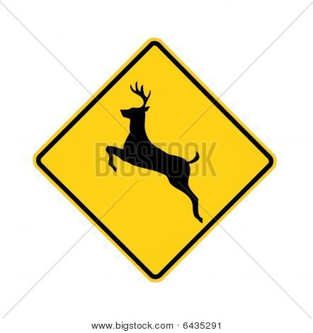 road sign - deer crossing, black on yellow, isolated poster