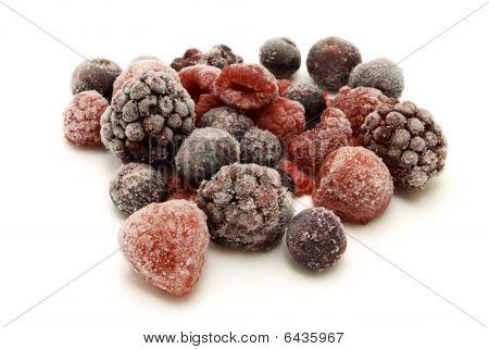 Frozen Berries On White