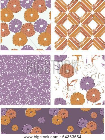 Modern Vector Seamless Floral Patterns. Use as fills or print off onto fabric to create unique items.