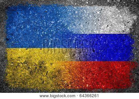 Merged Russian And Ukrainian Flags Painted On Concrete Wall