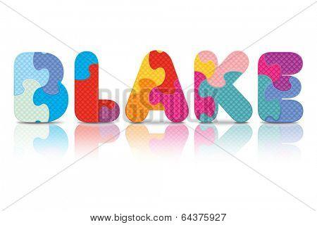 BLAKE written with alphabet puzzle - vector illustration