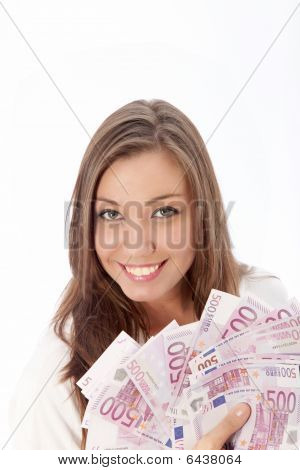 Young Woman Holding Many Euro Notes In Her Hand