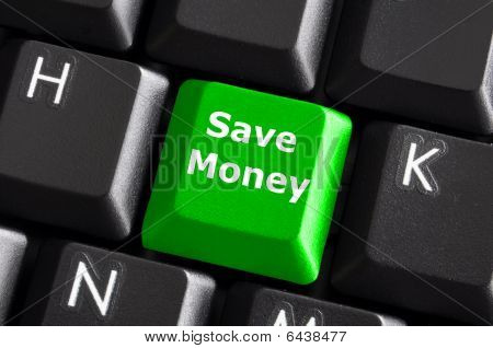 save money for investment concept with a green button on computer keyboard poster
