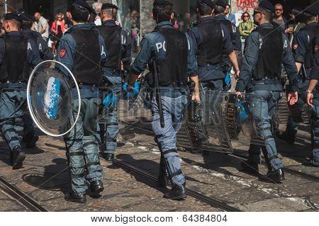 Policemen Follow The Mayday Parade In Milan, Italy