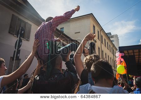 People Taking Part In Mayday Parade In Milan, Italy
