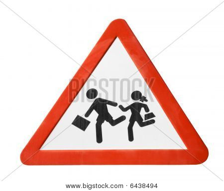 Warning Sign With School Chidren