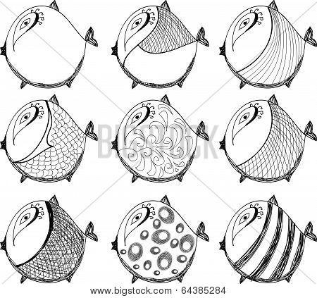 Set of  funny fish