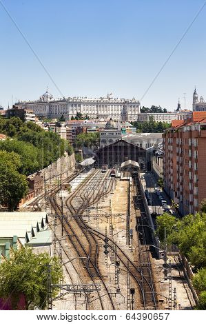 Madrid View, With Prince Pio Railway Station And Royal Palace