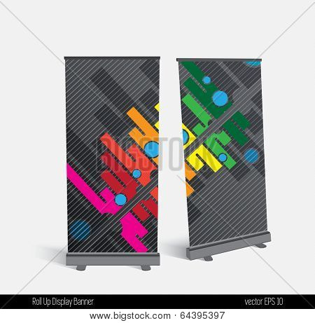 Roll up banner display template for designers, vector
