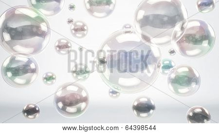 Reflective Bubbles Or Spheres Over Bright Background