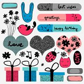 Romantic elements scrapbook set various sweet elements poster