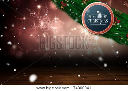 Sign with Merry Christmas upon it against shimmering light design over boards poster