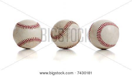 Three Baseballs On White Background