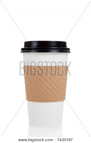 Row Of Paper Coffee Cups On White