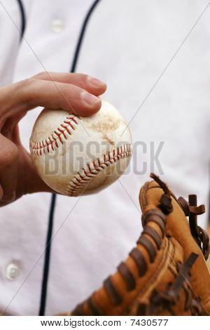 Pitcher Demonstrates His Baseball Grip