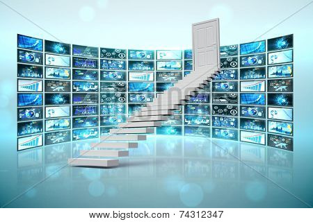 Stairs leading to door against screen collage showing business images poster