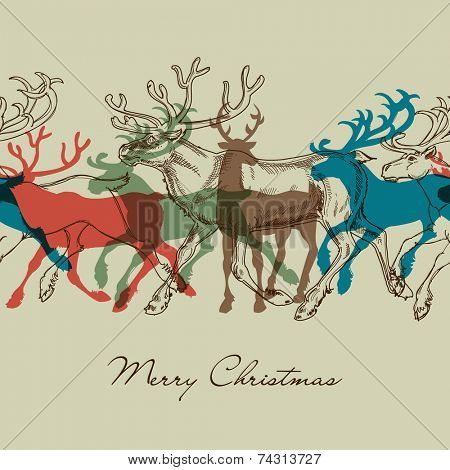 Deer seamless pattern, Christmas decorative background