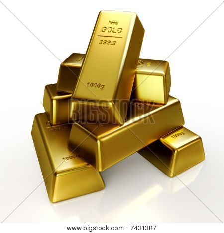 HQ 3d Illustration of a gold bars isolated on a white  background poster