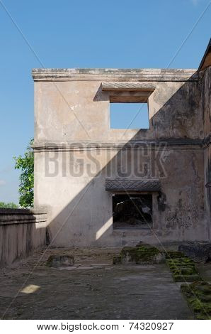 ruins at pulo cemeti taman sari water castle - the royal garden of sultanate of jogjakarta
