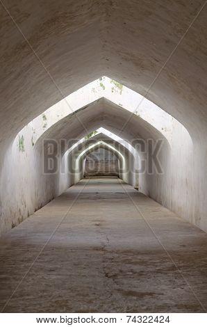 sumur gumantung the underground walkway tunnel taman sari water castle - the royal garden of sultana