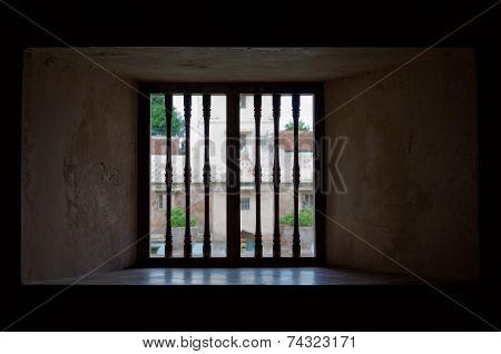 window view at taman sari water castle - the royal garden of sultanate of jogjakarta
