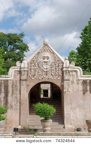 a gate at taman sari water castle - the royal garden of sultanate of jogjakarta