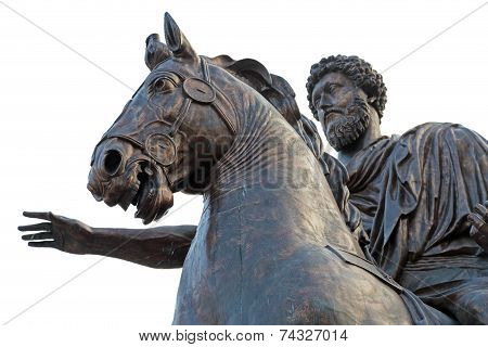 Equestrian statue of Marcus Aurelius on the Capitoline Hill of Rome Italy poster