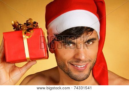 Sexy Santa Claus With Present