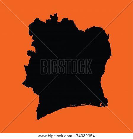 Illustration On An Orange Background Of Cote ;divoire