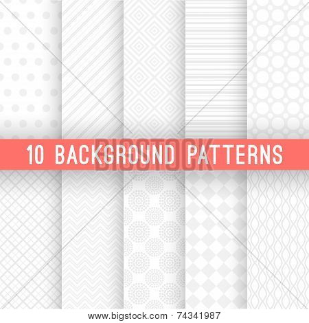 Light grey seamless patterns for universal background. Vector illustration