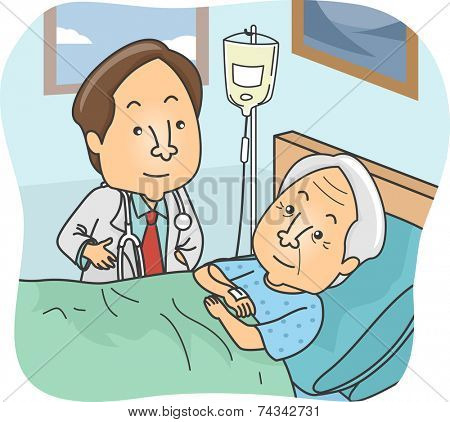 Illustration Featuring a Doctor Checking Up on His Elderly Patient