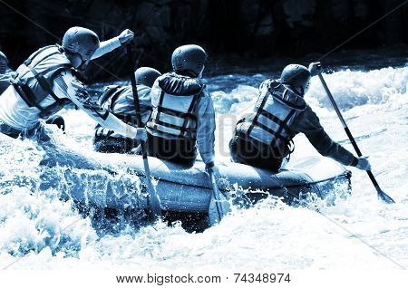 Rafting azure monochrome
