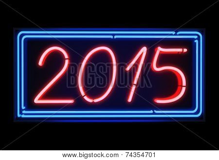 Neon light 2015 blue and red sign