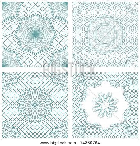 Set Of Seamless Patterns - Guilloche Ornamental Elements For Certificate, Money, Diploma, Voucher, D
