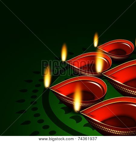 Diwali Oil Lamps Over Green Background