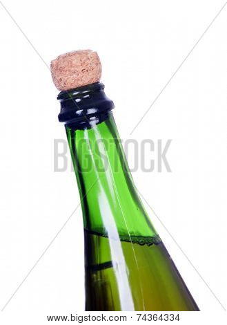 Without uncorking champagne bottle isolated on white background