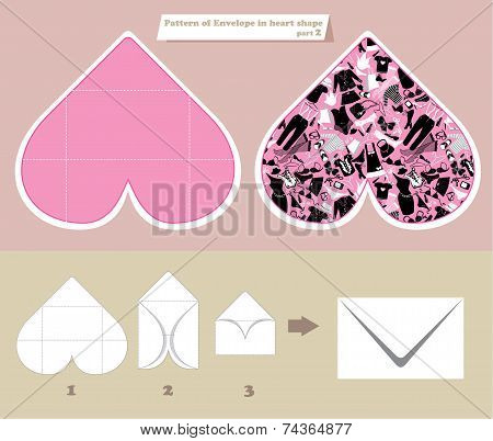 Template and scheme of envelope in heart shape. Pattern with women accessories and clothes. Elements for shop and sale design poster