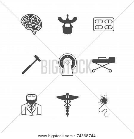 Black vector icons for neurology
