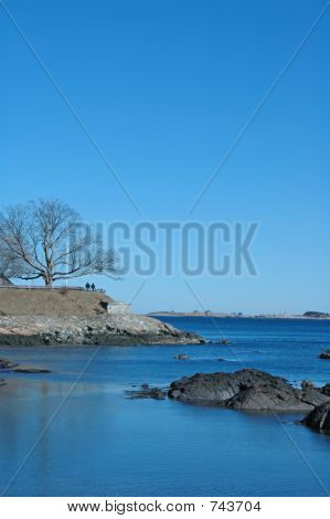 View of Fort Sewell on the coast of Marblehead, Massachusetts