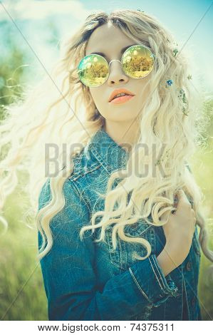 Outdoor Portrait Of Young Hippie Woman