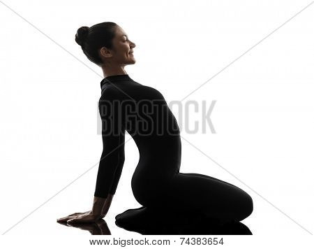 one  woman contortionist practicing gymnastic yoga in silhouette on white background