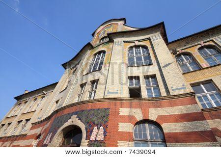 Bytom Silesia region in Poland. Polish secession architecture - Boleslaw Chrobry high school building. poster