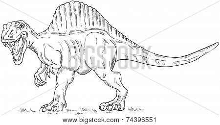 vector - walking dino  isolated on background
